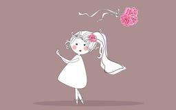 Bride tossing bouquet. Vector illustration of bride tossing bouquet Stock Image
