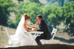 Bride Touching Groom`s Face. At table Stock Photo