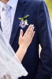 Bride touching suit of groom with boutonniere Stock Image