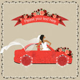 The bride travels to the wedding. Wedding invitation with bride in the car and place for text Stock Photo