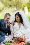 Bride treats the groom Stock Image