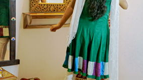 Bride Tries on Indian Skirt for Wedding Ceremony stock video footage