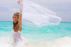 Bride on a tropical beach Royalty Free Stock Image