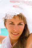 Bride on a tropical beach Royalty Free Stock Photography