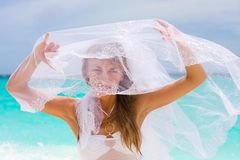 Bride on a tropical beach Royalty Free Stock Images
