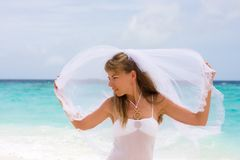 Bride on a tropical beach Royalty Free Stock Photos