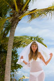 Bride on a tropical beach Stock Image