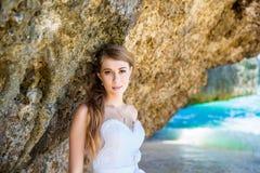 Bride on a tropical beach. Wedding and honeymoon concept. Bride on a tropical beach. Wedding and honeymoon concept Stock Photography