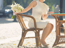 Bride on Twiggen Chair Royalty Free Stock Photos