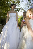 Bride With Two Flower Girls Stock Photo