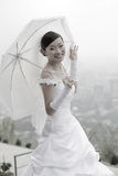 Bride with umbrella Stock Image
