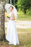 Bride with umbrella standing near tree Stock Image