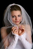 The bride under a veil. Royalty Free Stock Photography