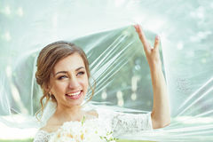 Bride under veil Stock Images