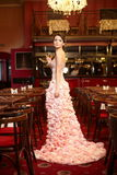 Bride in unusual wedding dress in restaurant Stock Image