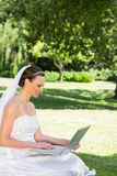 Bride using laptop on grass at garden Royalty Free Stock Image