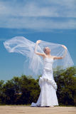Bride and veil. Bride plays with the veil Royalty Free Stock Photo