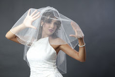 Bride veil. Young bride with white wedding dress and veil over her face Stock Photo