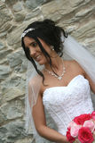 Bride with veil and bouquet. Young bride wearing strapless wedding gown and veil holding a red and pink bouquet Stock Photos