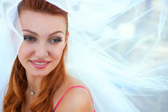 Bride in veil close up outside Stock Photo