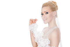 Bride veil covers her face. Stock Image