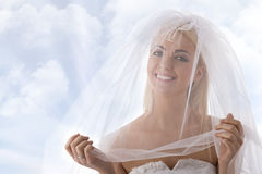 Bride with veil on the face smiles Royalty Free Stock Photo