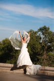 Bride with veil in form of wings Royalty Free Stock Photography