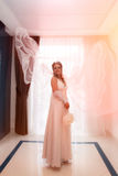 Bride with veil living in the air Royalty Free Stock Image