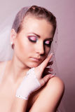Bride with veil and pink makeup Royalty Free Stock Photography