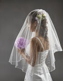 Bride Veil Portrait, Wedding Bridal Hair Style, Flowers Bouquet Royalty Free Stock Photography