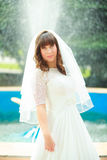 Bride with veil smiling Royalty Free Stock Photo