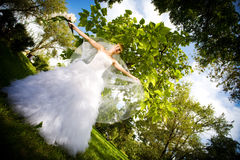 Bride with viel Stock Photo