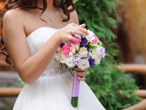 Bride with Violet Bouquet Stock Photography