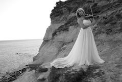 Bride With Violin Royalty Free Stock Photos