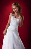 Bride - vogue model in white dress. Stock Image