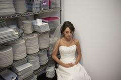 Bride Waiting. Horizontal image of a bride waiting before her wedding ceremony stock photo
