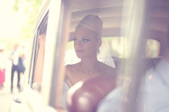 Bride waiting in the car Stock Photography