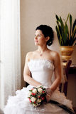 Bride waiting for a groom Royalty Free Stock Image