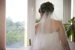 Bride waiting for her groom Royalty Free Stock Photography