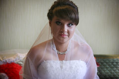Bride waiting for her groom royalty free stock photos