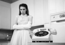 Bride Waiting By The Telephone Stock Photography