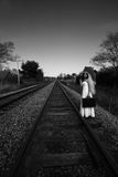 Bride waiting for train Royalty Free Stock Images