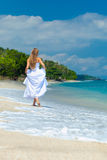 Bride walking along sea coast Stock Image