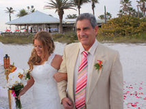 Bride with her father stock photos