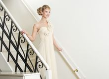 Bride Walking Down Stairs Royalty Free Stock Photos