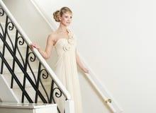 Bride Walking Down Stairs Royalty Free Stock Photos