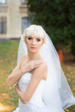 Bride walking on the wedding day Royalty Free Stock Images