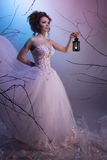 Bride walking whit a lamp in her dream Royalty Free Stock Images