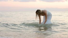 Bride Walks On The Shore stock video