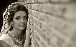 The bride at a wall Royalty Free Stock Images